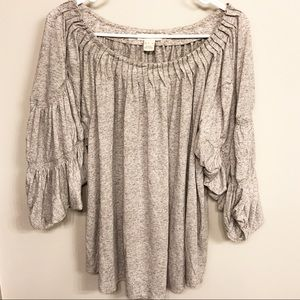 Sundance grey baggy sleeves wide neck top